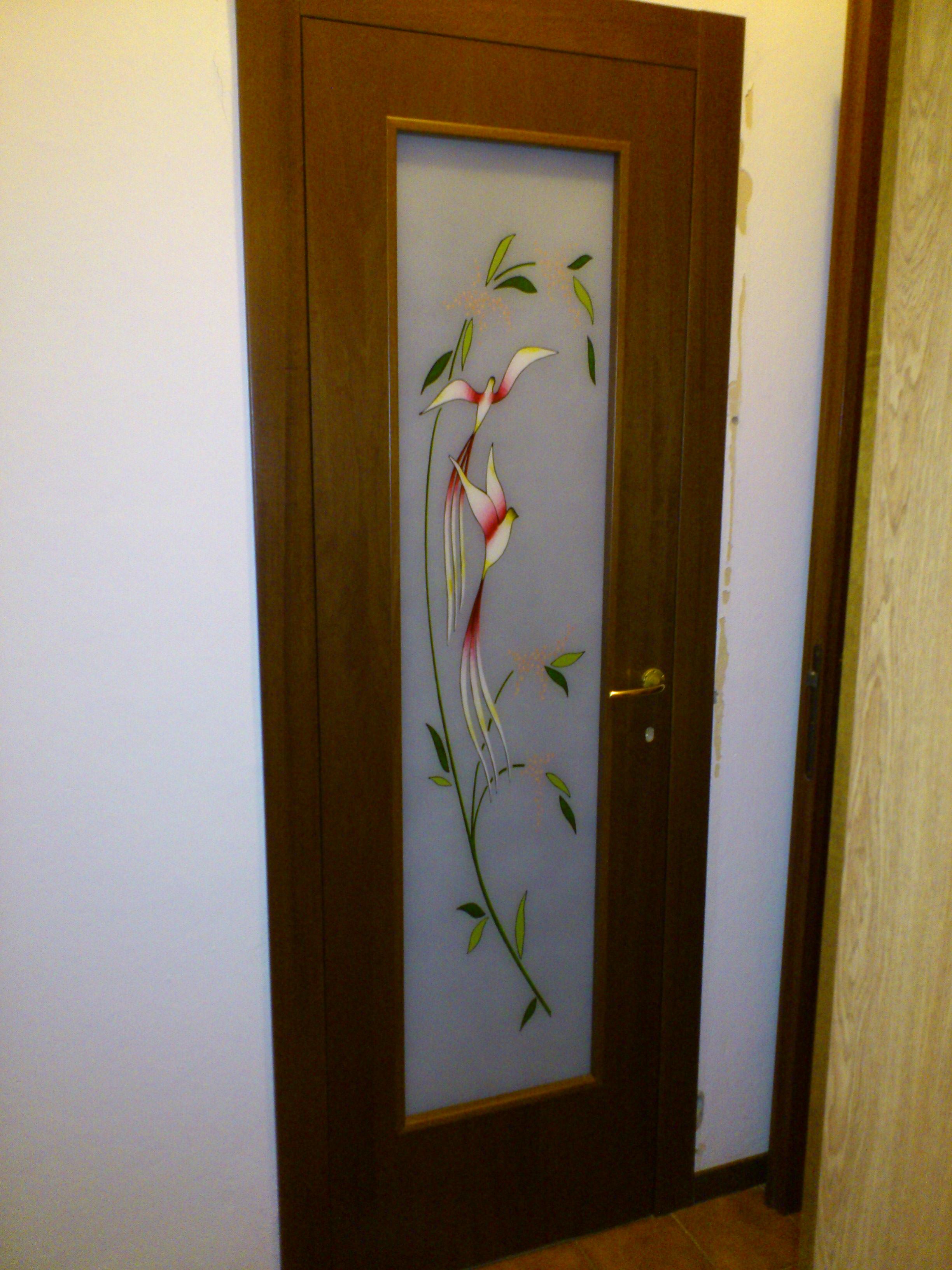 Battente con vetro stratificato decorato a mano pandora base 2 serramenti - Decorazioni porte interne ...