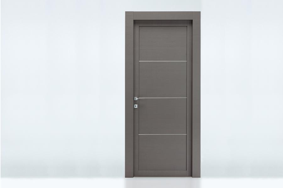 Battente in rovere grigio con listelli in alluminio base - Porte interne rovere grigio ...